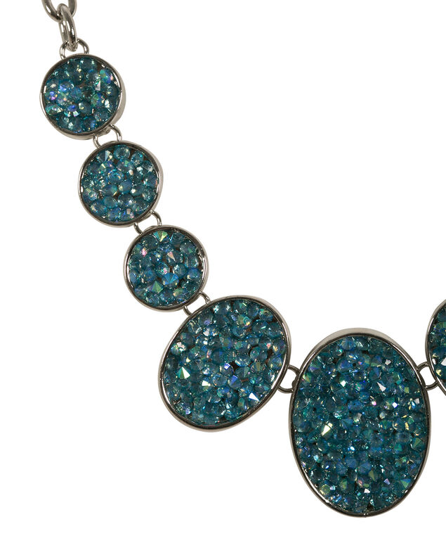 Clustered Bead Statement Necklace, Blue/Green/Burnished Silver, hi-res