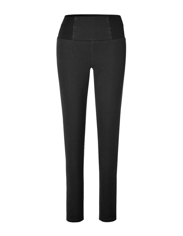 Black High Waisted Pull-On Jegging, Black, hi-res
