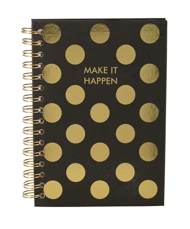 Make It Happen Notebook, Black/Pink, hi-res