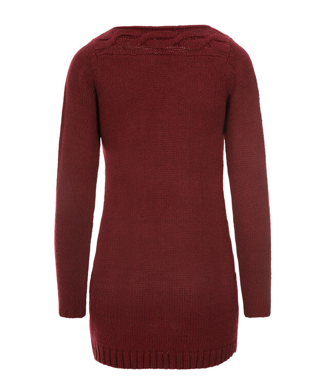 Boat Neck Cable Tunic, Cranberry, hi-res
