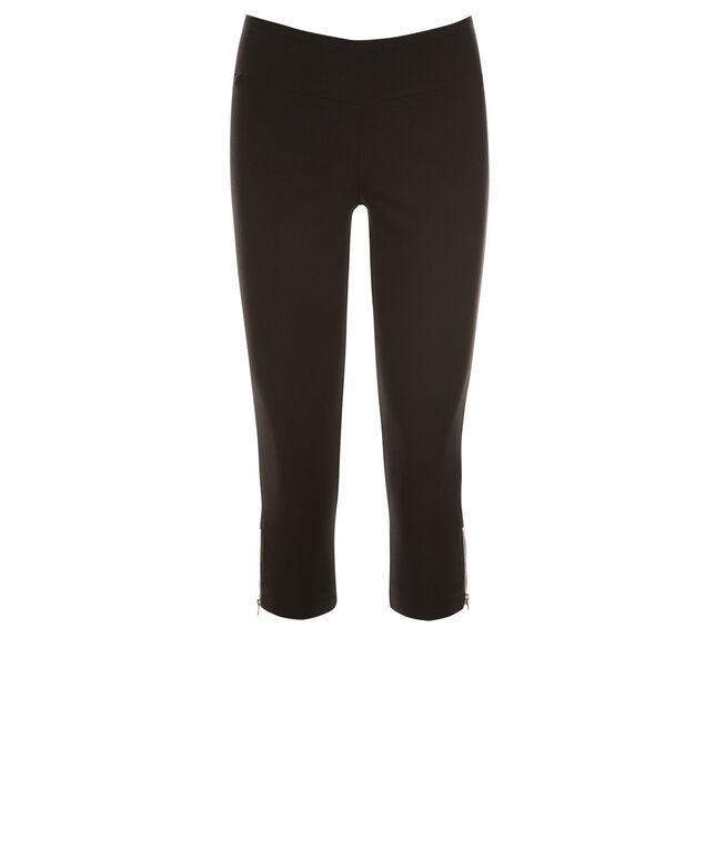 Microtwill Super Slim Zipper Capri, Black, hi-res