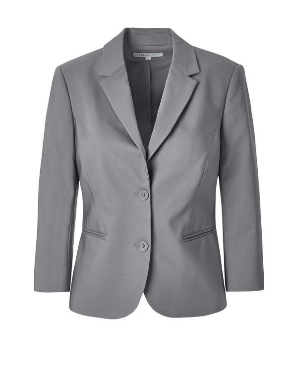 Grey 3/4 Sleeve Blazer, Grey, hi-res