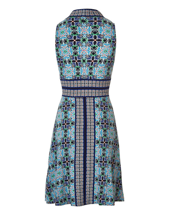 Blue Print Fit and Flare Dress, Blue/White/Black/Orange/Green, hi-res