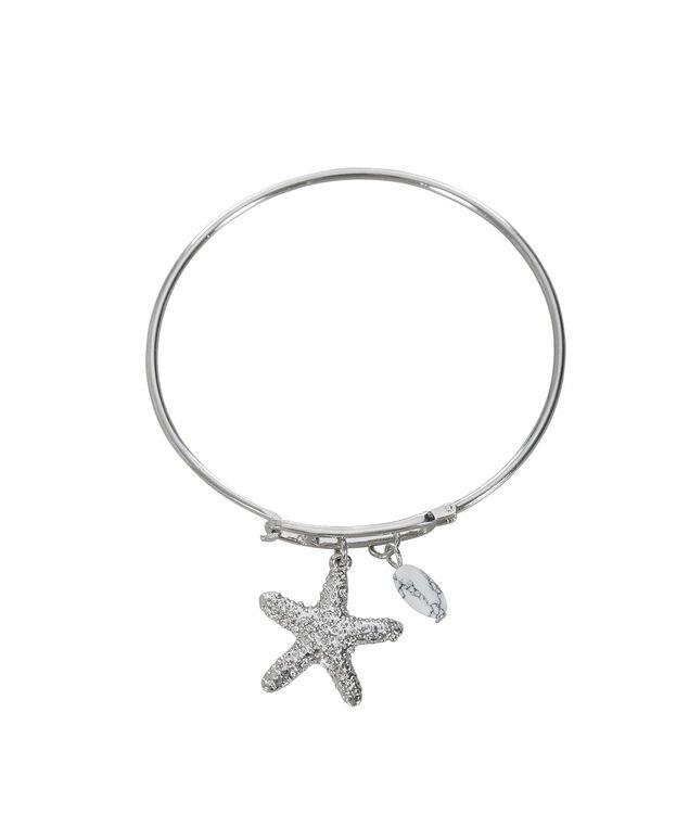Starfish Charm Bracelet, White/Rhodium, hi-res