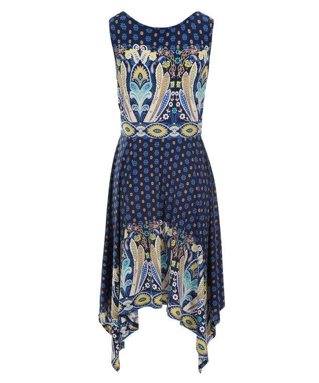 Luxology Paisley Sharkbite Dress, Navy Print, hi-res
