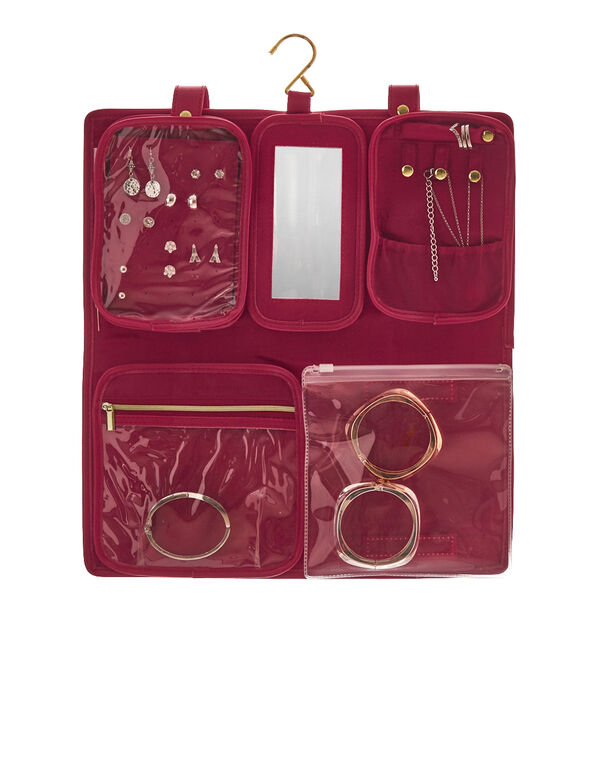 Foldout Jewelry Organizer, Red, hi-res