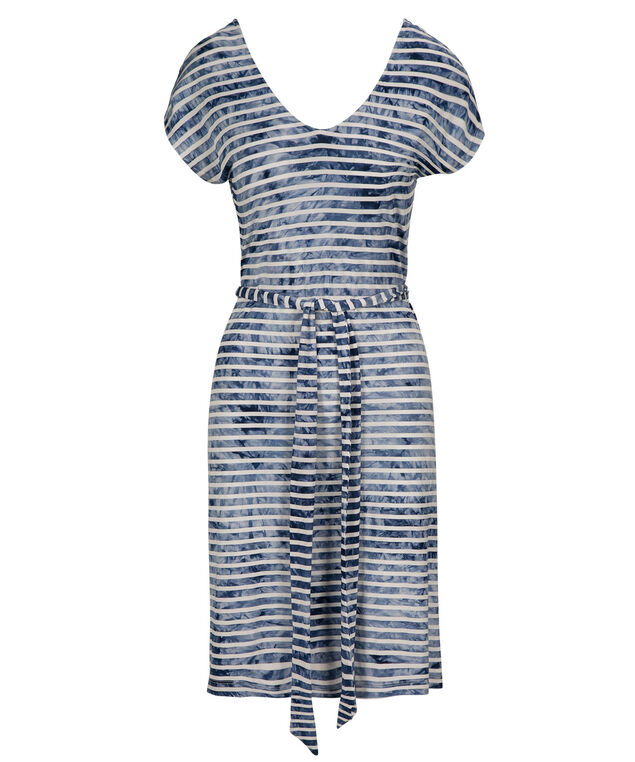 Tie Waist Striped Sun Dress, Blue/White, hi-res