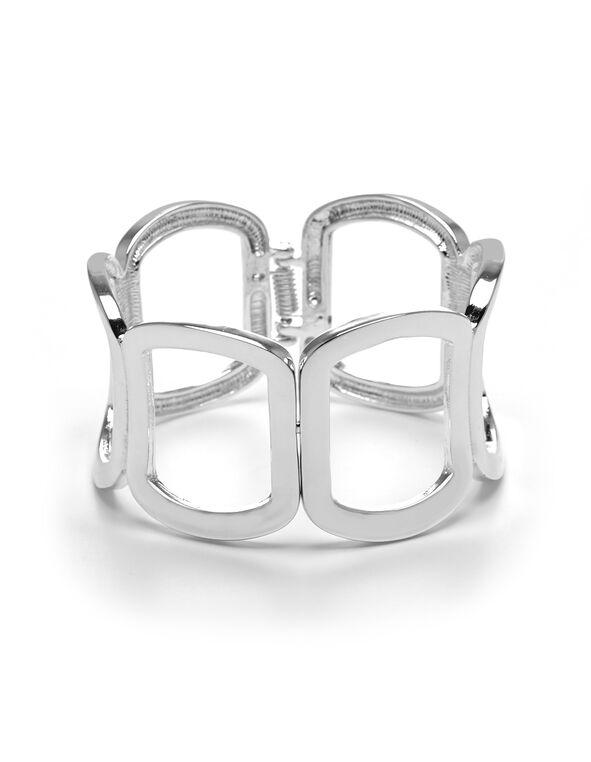 Silver Square Cuff Bracelet, Silver, hi-res