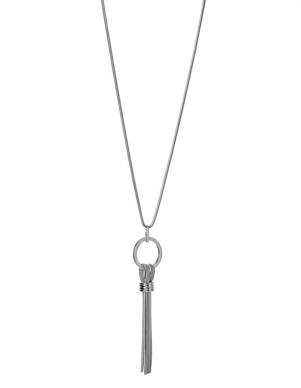 Long Tassel Pendant Necklace, Silver, hi-res