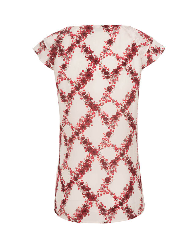 Flutter Sleeve Pintuck Blouse, Red Print, hi-res