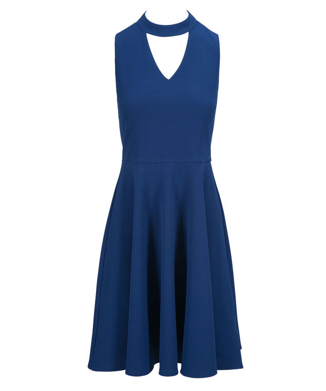 Choker Neck Fit & Flare Dress, Cobalt, hi-res