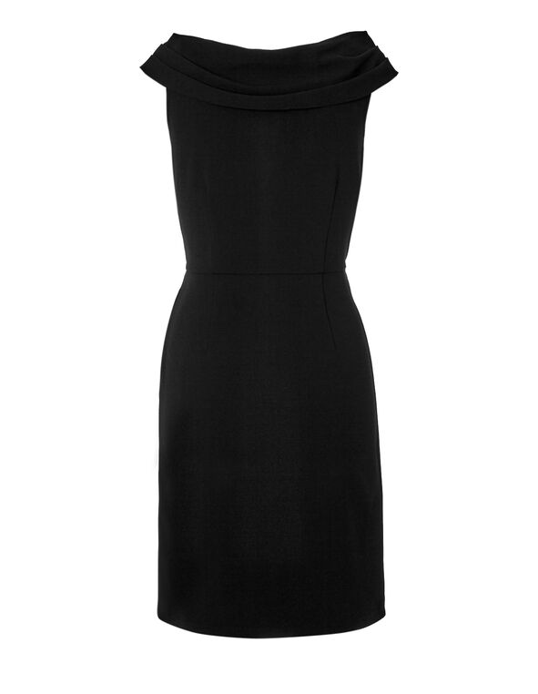 Black Cowl Neck Shift Dress, Black, hi-res
