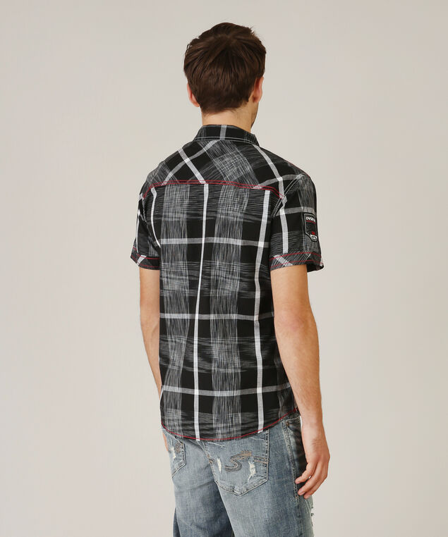 shirt with contrast stitching, GREY/BLACK PLAID, hi-res