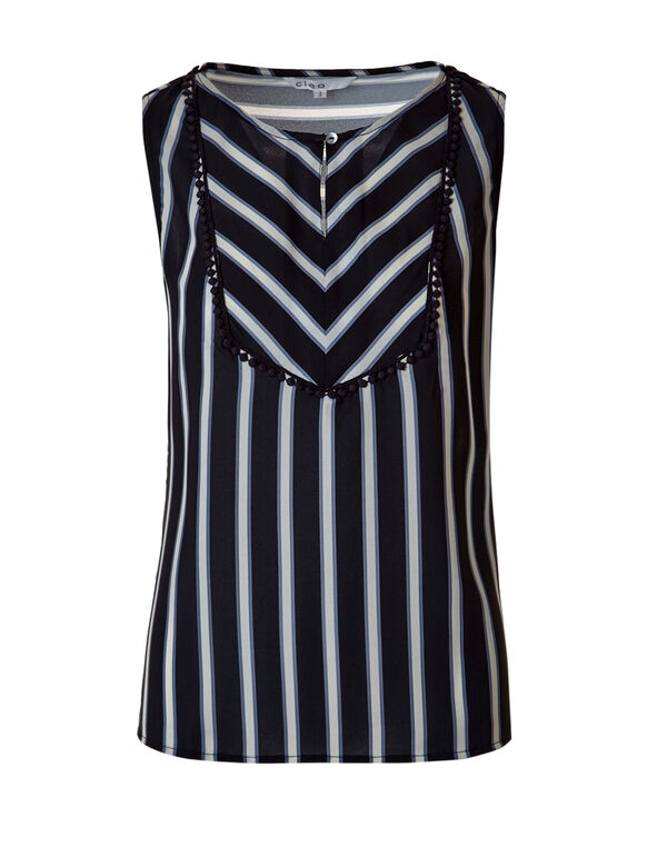 Striped Keyhole Neck Top, Navy/Stone/Grey, hi-res