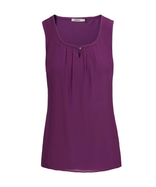 Pleat Neck Woven Overlay, Purple, hi-res