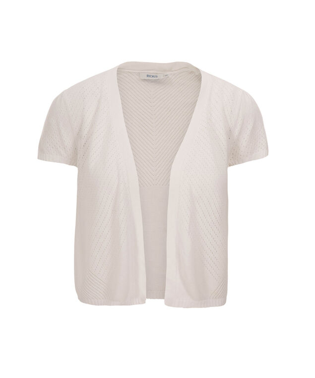 Pointelle Open Shrug, True White, hi-res
