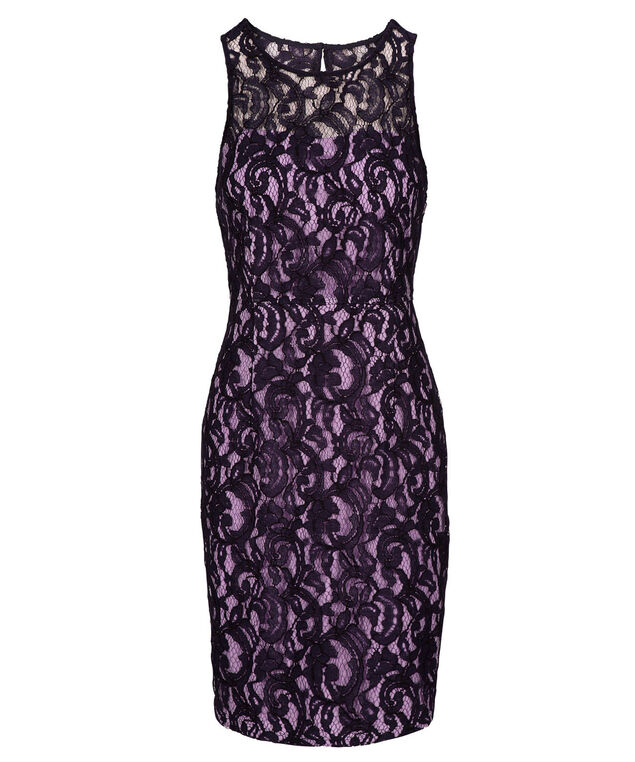 Illusion Neck Lace Sheath Dress, Deep Purple, hi-res