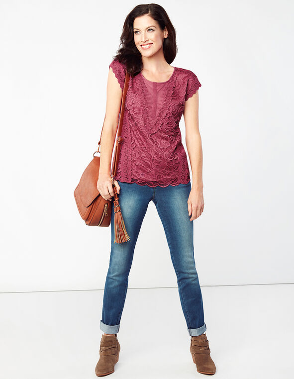 Clay Lace Scoop Neck Top, Clay, hi-res