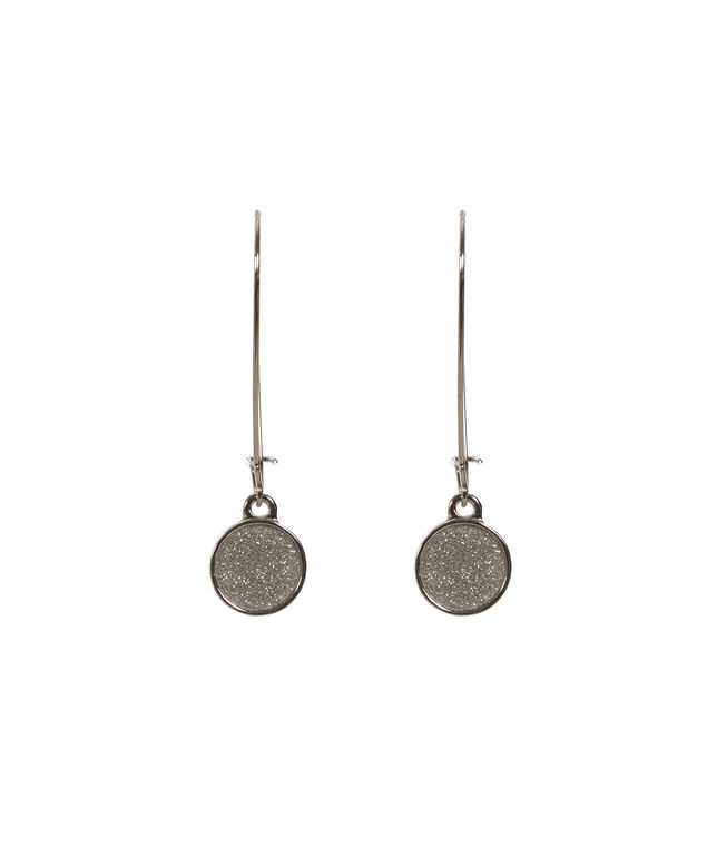 Glitter Drop Earring, Rhodium, hi-res