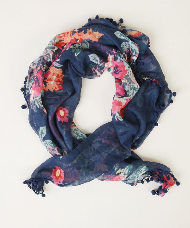floral pompom scarf, NAVY FLORAL, hi-res