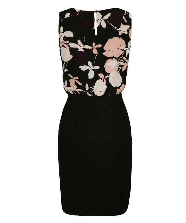 Ponte Skirt Blouson Dress, Black Print, hi-res