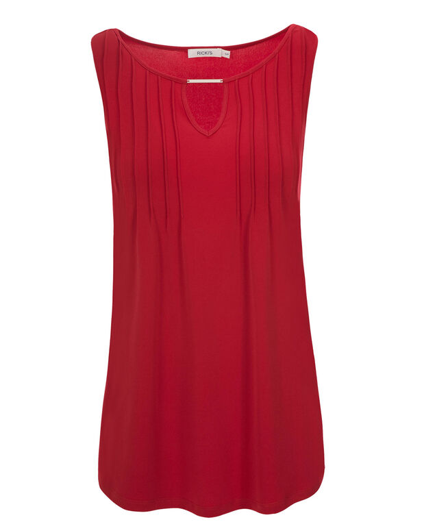 Pleat Neck Hardware Tank, Poppy Red, hi-res