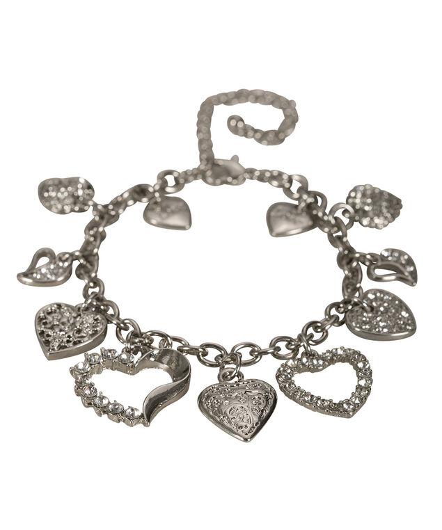 Heart Charm Bracelet, Rhodium, hi-res