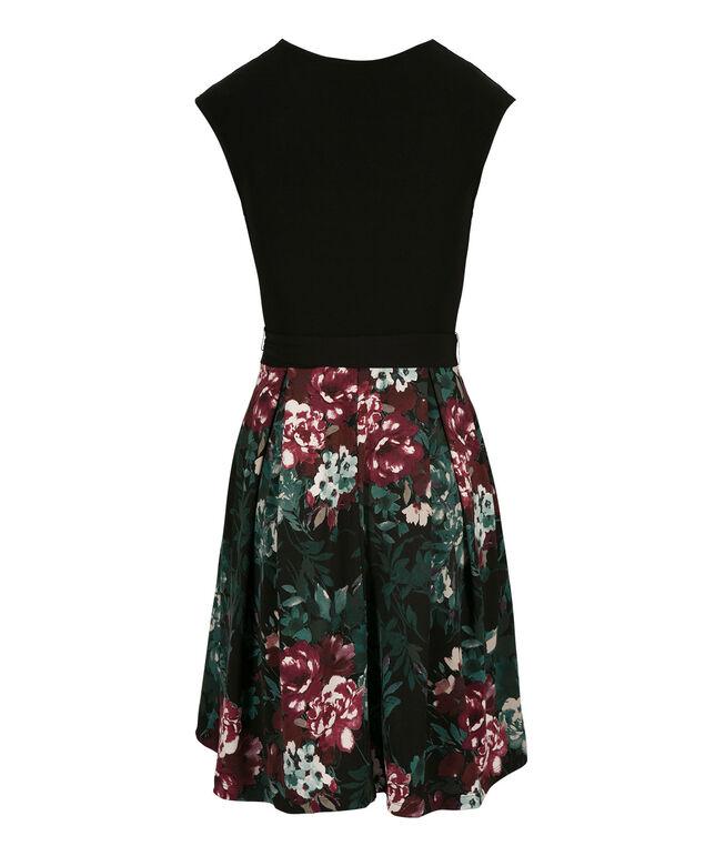 Crossover Floral Skirt Dress, Black/Teal Print, hi-res