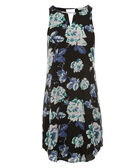 Keyhole Trapeze Dress, Black/Blue Print, hi-res