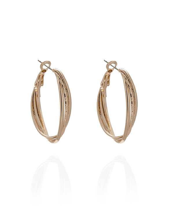 Rose Gold Textured Oval Earring, Rose Gold, hi-res