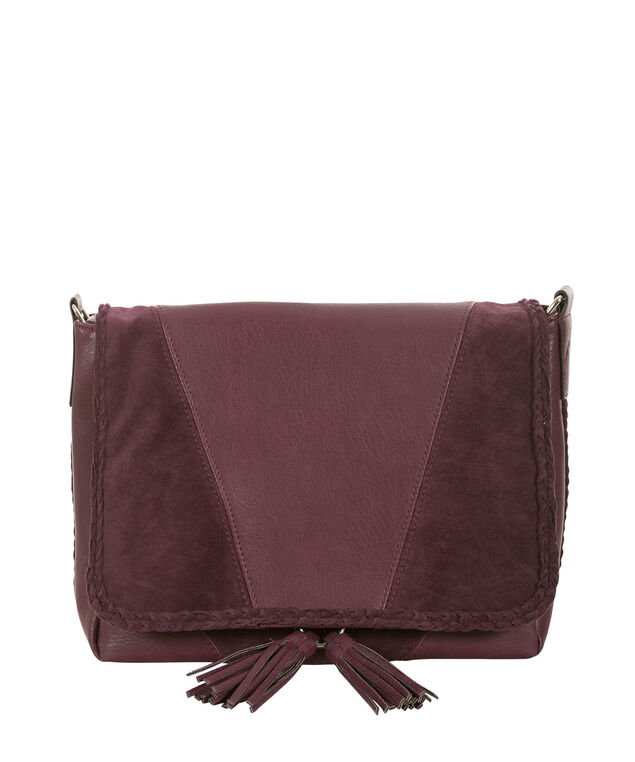 Braided Tassel Crossbody Bag, Wineberry, hi-res