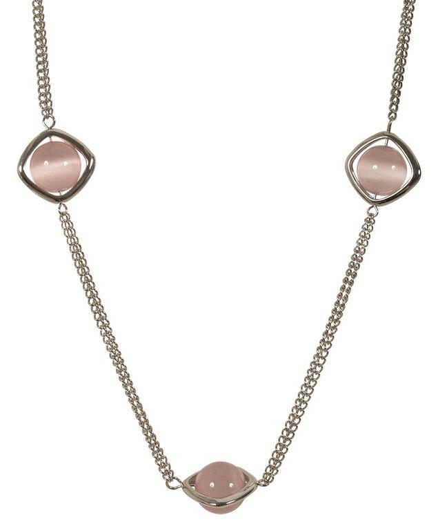 Pink Blush Bead Necklace, Pink Blush/Rhodium, hi-res