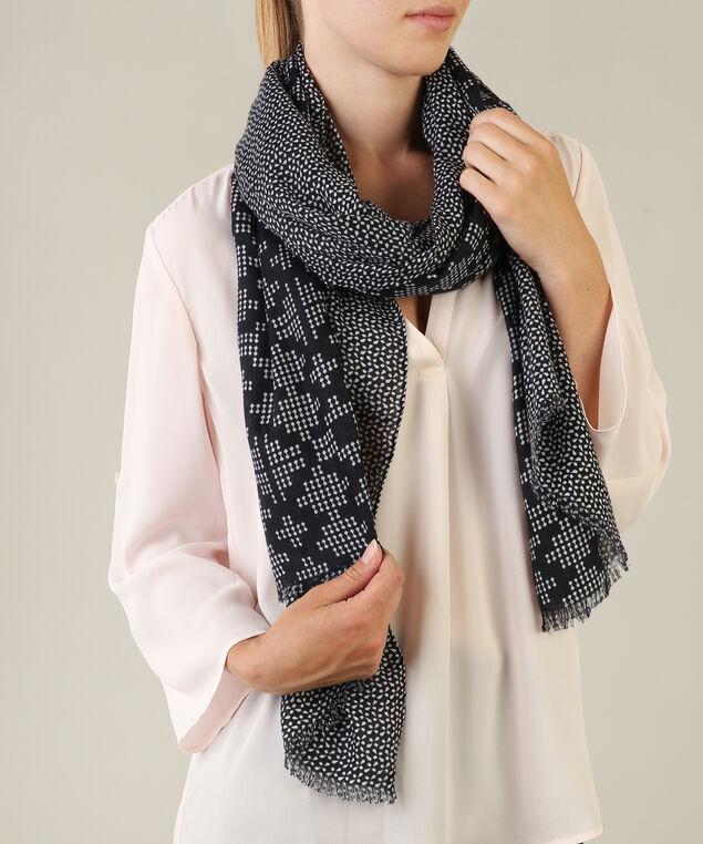 tetrus print scarf, BLUE/IVORY, hi-res