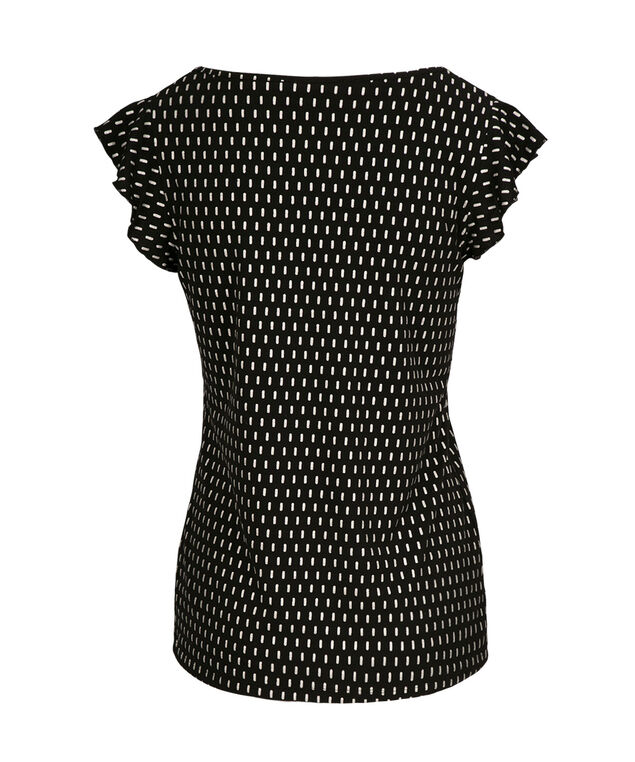 Flutter Sleeve Top, Black Pattern, hi-res