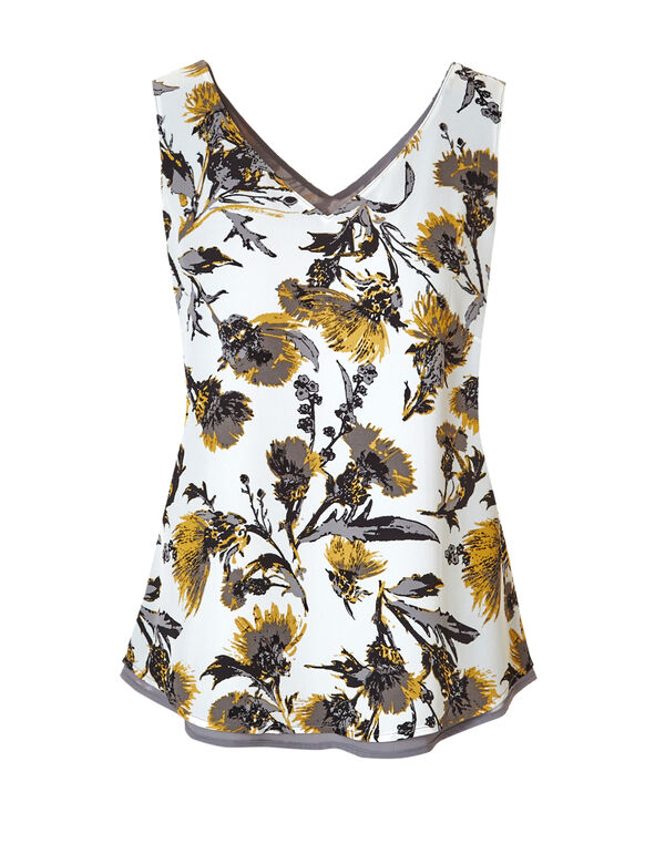 Grey Floral Reversible Blouse, Grey/Saffron/White, hi-res