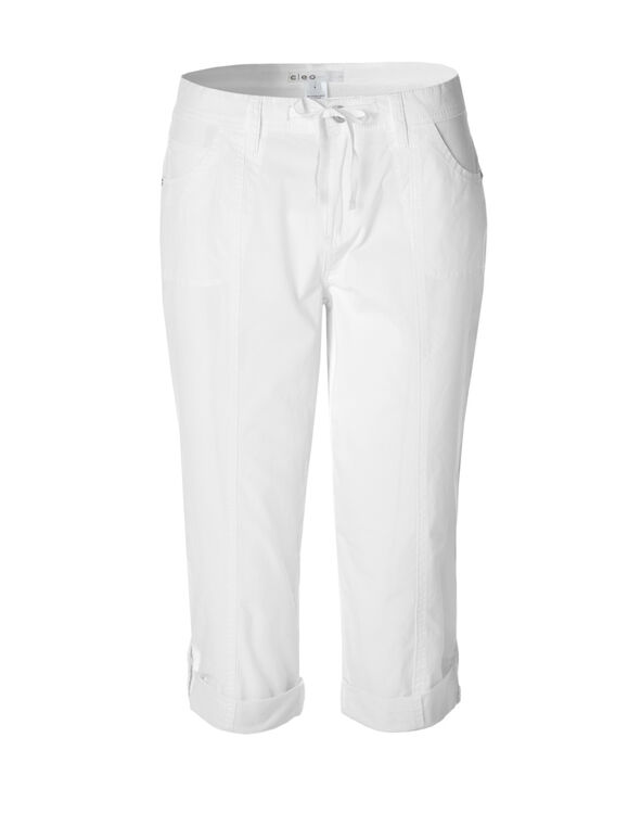 White Poplin Roll-Up Capri, White, hi-res