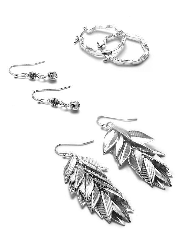 Silver Leaf Drop Earring Set, Silver, hi-res
