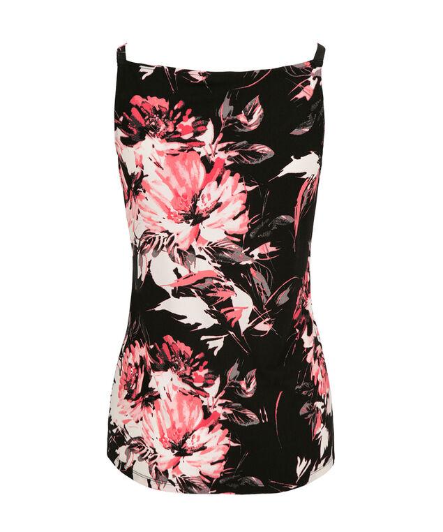 V-Neck Floral Tank, Pink Print, hi-res