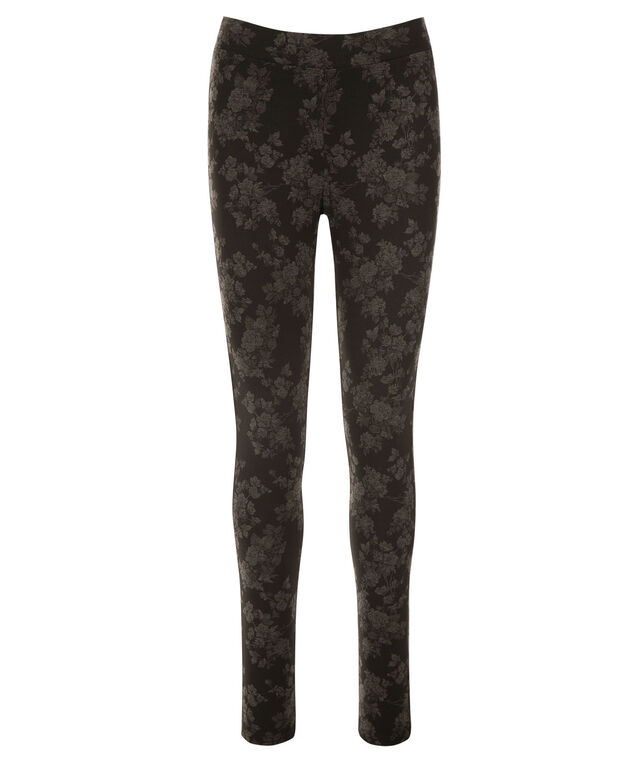 Luxe Ponte Legging, Black/Grey Floral, hi-res
