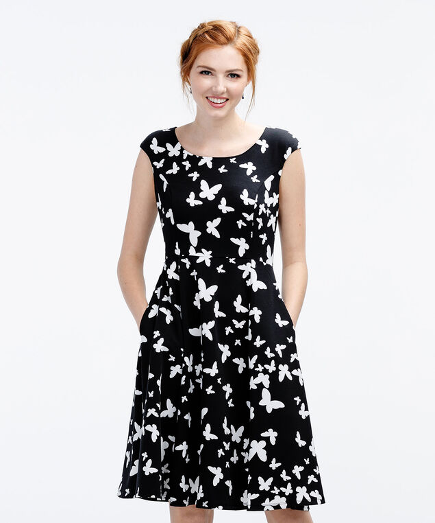 Butterfly Fit & Flare Dress, Black/White Print, hi-res