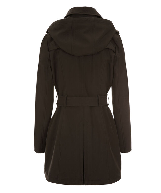 Asymmetrical Hooded Trench Coat, Black, hi-res