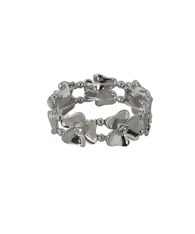 Stretch Floral Bracelet, Rhodium, hi-res