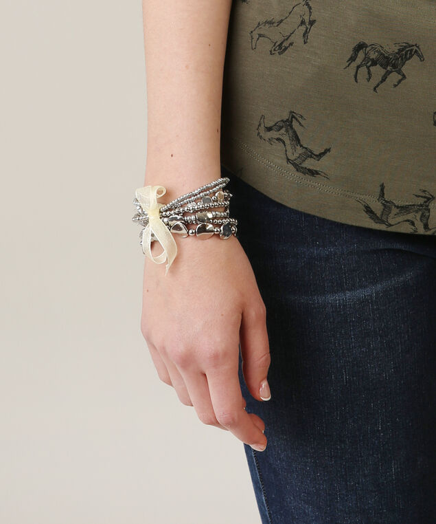 multi strand bracelet with ribbon, SILVER, hi-res