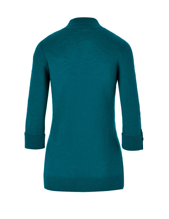 Turquoise Lightweight Sweater, Turquoise, hi-res