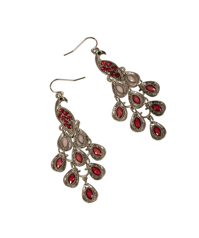 Pretty Peacock Earring, Strawberry Daiquiri/Rhodium, hi-res