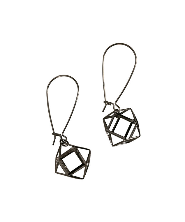 Open Hexagon Earring, Hematite, hi-res