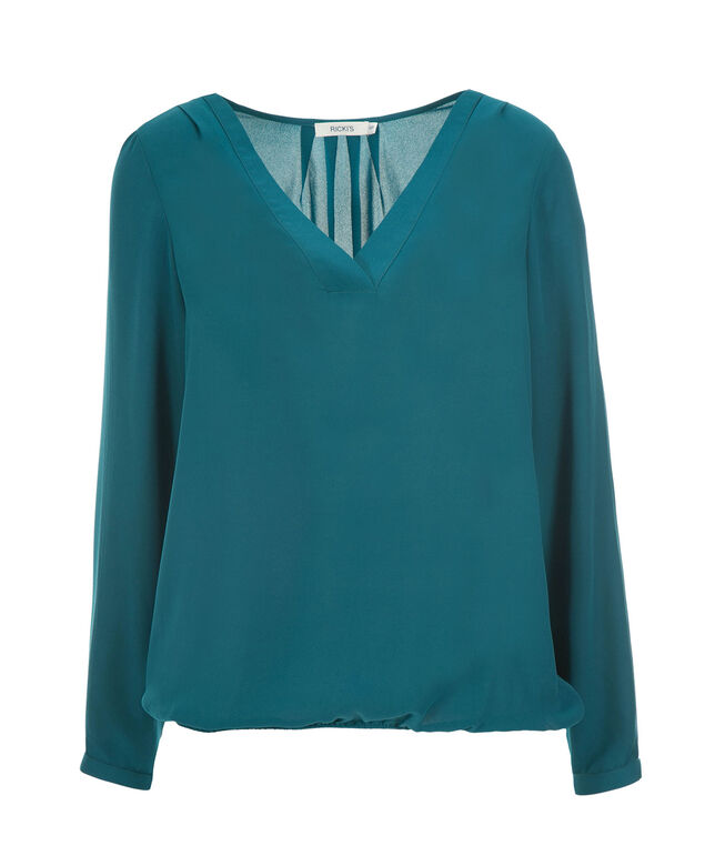 V-Neck Long Sleeve Blouse, Ultra Teal, hi-res