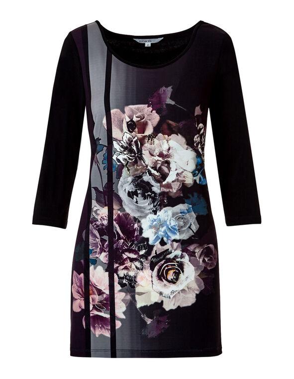 Black Floral Print Tunic, Black/Dusty Pink/Ivory/Blue, hi-res