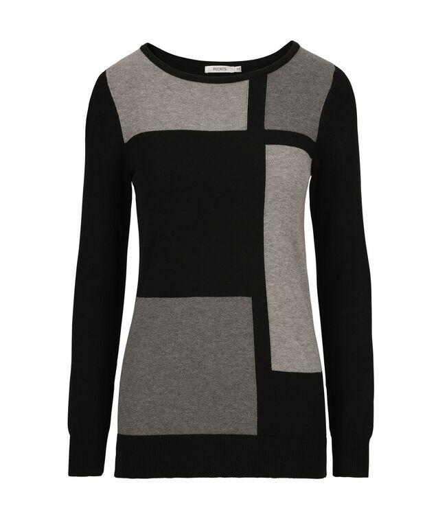 Colourblock Sweater, Black/Grey, hi-res