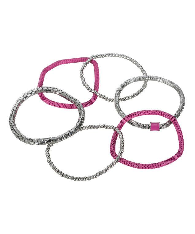 Metal & Mesh Bracelet Set, Vibrant Pink/Rhodium, hi-res